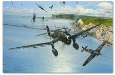 Robert Taylor's 'Open Assault' depicts Hurricanes of No. 501 Squadron attacking a force of Ju87 Stukas as they dive-bomb naval vessels and installations in the port of Dover on 29 July 1940.