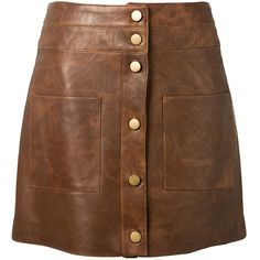 Veronica Beard Brown Leather Mini Skirt (27.350 CZK) ❤ liked on Polyvore featuring skirts, mini skirts, saias, brown mini skirt, brown a line skirt, leather skirt, short mini skirts and brown leather mini skirt
