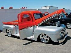 Check out the Custom Classic Trucks at the Annual Hot Rod Nationals in Indianapolis, Indiana at O'Reilly Raceway Park. 1948 Ford Truck, Chevy Pickup Trucks, Ford Pickup Trucks, Chevy C10, Chevrolet, Custom Classic Cars, Classic Trucks, Hot Rod Trucks, Cool Trucks
