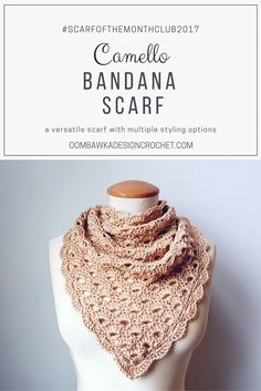 Camello Bandana Scarf – The Versatile Camello can be styled in so many ways. Free Pattern Oombawka Design Crochet See other ideas and pictures from the category menu…. Crochet Beanie, Crochet Shawl, Knit Crochet, Free Form Crochet, Easy Crochet, Crochet Wraps, Crochet Things, Crochet Scarves, Crochet Clothes