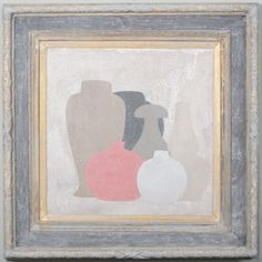 6 square - Original acrylic painting on wood in antique frame by Peter Woodward