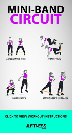 Workout with mini band. Fitness, Aerobic and workout exercise. Resistance Workout, Resistance Band Exercises, Exercises With Bands, Stretch Band Exercises, Hip Strengthening Exercises, Donkey Kicks, Butt Workout, Band Workout For Legs, Resitance Band Workout