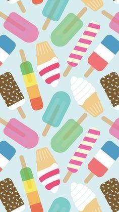 アイスクリームがいっぱい♪イラストiPhone壁紙 iPhone 6/6S 7 8 PLUS X SE Wallpaper Background