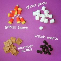 Creative Halloween candy ideas for goblin teeth, ghost poop, monster scabs, and witch warts.