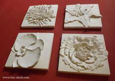 Wanddeko - Gips Wandrelief Relief Blumen 4 Tlg. Spar Set,Deko - ein Designerstück von Lux-Stuck bei DaWanda