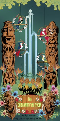 Welcome to Walt Disneys Enchanted Tiki Room! Being your Dole Whip and sing like the birdies sing. Inspired by the Enchante Tiki Room at Disneyland, CA. Disney Love, Disney Magic, Disney Theme, Tiki Art, Tiki Tiki, Pixar, Disney Enchanted, Tiki Decor, Vintage Disneyland