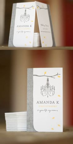 This is Jane Johnson's beautiful branding for Amanda K Photo Art realized as a 2/2 letterpress business card on Crane's 220# fluorescent white Lettra. The beautiful, ultra-clean design is softened a bit by the saltiness of the PMS cool grey 9 in the tree.