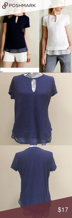 "Anthropologie Deletta Soledad top Anthropologie Deletta  Soledad navy top.  Pattern design. Can see if in the pictures.  Size medium.   19"" from under arm to under arm. Length 25"". Excellent condition.  Cotton, polyester and spandex blend. Anthropologie Tops Tees - Short Sleeve"