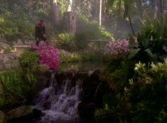 """Benjamin Sisko enjoying the serenity of a Bajoran monastic garden - """"In the Hands of the Prophets,"""" Deep Space Nine."""
