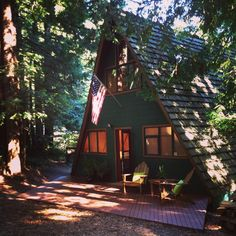 A-frame with ground level deck