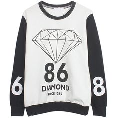 Choies White Diamond And Number Print Sweatshirt (255 NOK) ❤ liked on Polyvore featuring tops, hoodies, sweatshirts, sweaters, shirts, multi, sweat shirts, print sweatshirt, sweatshirt shirts and sweatshirts hoodies
