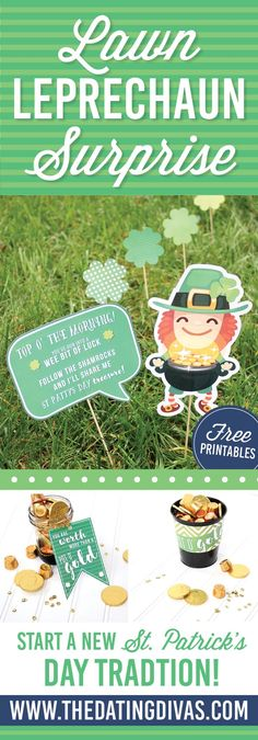You've been SHAMROCKED! This would be such a cute way to surprise friends or neighbors on St. Patrick's Day- lawn leprechaun surprise! Printables designed by http://www.jabcreativeaustralia.com http://www.TheDatingDivas.com
