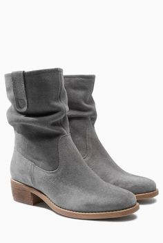 Grey Square Toe Suede Slouch Ankle Boots from the Next UK online