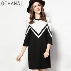OCHANAL Spring New Casual Lace Inset Geometry Three Quarter Sleeve Shift Dress Plus Size Women Dresses xl to 5xl