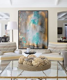 Gold and Turquoise Abstract Painting, Canvas Art, Watercolor Print, Contemporary…
