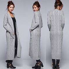 LOVE STITCH Grey Cable Knit Long Maxi Cardigan Cashmere Blend