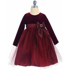 LITO LITO Burgundy Long Sleeve Velvet Girls Holiday Dress w. Glitter Tulle 2T-10