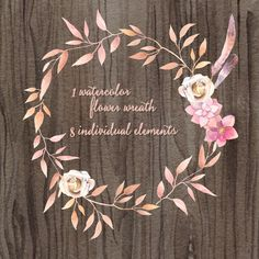 "Watercolor hand painted floral frames clipart: ""FLORAL WREATHS"" pink flowers clipart wedding clipart DIY invite greeting card floral clipart hand painted"