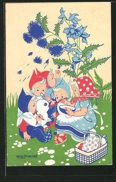 Künstler-AK Willy Schermele: Kinder auf einer Wiese bei einem Picknick, Ente 0