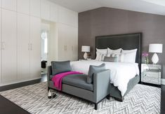 Jodie Rosen Design - bedrooms - gray bedrooms, white and grey bedrooms, sloped ceiling, bedroom sloped ceiling, sloped ceiling bedroom, acce...