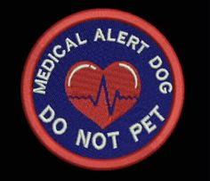 Red Heart/Navy Blue/Red/White Medical Alert Service Dog Patch