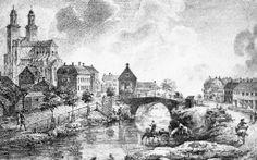 Biild från början av 1700-talet. Vid Nybron syns hopsitalets kyrka. En klocka från den kyrkan finns ute på Ulleråkers sjukhus och hör till Den Gode Herdens kapell.