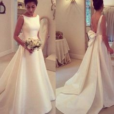 Modern A-Line Wedding Dress - Square Ivory Satin Sweep Train Bowknot Backless