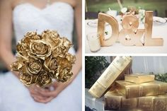 Spray painted gold wedding details: Rose wedding bouquet, bride and groom initials and antique books.