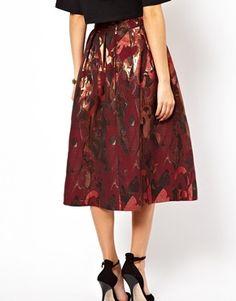 ASOS Full Midi Skirt in Camo Jacquard Print