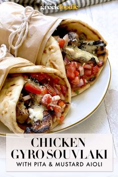 This delicious chicken souvlaki recipe has juicy, tender chicken thighs, homemade Greek pita bread, a honey mustard aioli, and lots of aromatics. #chickensouvlaki #chickengyro Greek Roasted Chicken, Greek Chicken Recipes, Chicken Pita Bread Recipe, Greek Recipes, Greek Pita Bread, Gyro Pita, Chicken Gyros, Chicken Souvlaki Pita, Pan Arabe