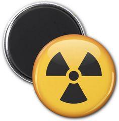 Radiation symbol fridge magnet or locker magnet