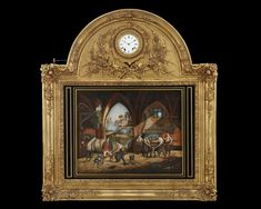 French Musical Automaton Picture Clock~ This incredible work of art blends the beauty of a painting with the mechanical complexities of both a cylinder music box and an automaton. A clock is integrated within the arched giltwood and gesso frame, and, when activated, this painting quite literally comes alive. ~M.S. Rau Wall Clock Crystal, Mystery Clock, Picture Clock, Antique Mantel Clocks, French Clock, Clocks For Sale, Marble Art, Antique Stores, Rare Antique