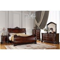 This grand bedroom suite has an elegantly carved sleigh bed, matching night stand, dresser and chest. Each is appointed with traditional hardware and is finished in a beautiful warm brown cherry. Wood Sleigh Bed, Sleigh Beds, King Beds, Queen Beds, Cal King Bedding, California King Mattress, Brown Furniture, Headboard And Footboard, Shabby Chic Furniture