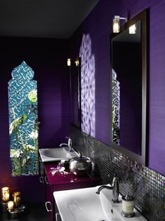 Cool Moroccan Bathroom Furniture from Delpha : Modern Moroccan Bathroom Furniture With Purple Wall And Big Window And White Washbasin Moroccan Bathroom, Bohemian Bathroom, Gothic Bathroom, Master Bathroom, Bathroom Laundry, Downstairs Bathroom, Washroom, Modern Moroccan, Moroccan Design