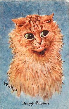 Orange Persian Cat  | postcard by Louis Wain