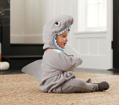 Pottery Barn Kids offers kids & baby furniture, bedding and toys designed to delight and inspire. Create or shop a baby registry to find the perfect present. Jessie Halloween, Baby First Halloween Costume, Halloween 2016, Shark Onesie, Baby Shark, Shark Costumes, Baby Costumes, Baby Olivia, Homemade Halloween