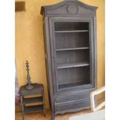 ancienne armoire relookee en bibliotheque diy. Black Bedroom Furniture Sets. Home Design Ideas