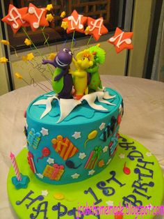 """Happy 1 st Birthday to Ayman       size of cake 5"""" x 7""""          Barney and friends celebrate birthday with Ayman , and  McQueen and fri..."""