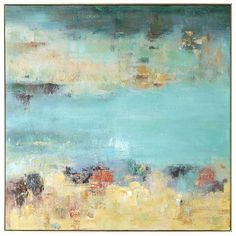 """Hand-painted in unexpected shades of turquoise, green, charcoal, orange and iris acrylic, our abstract wall art is awash with possibilities. The muted shades blend to a soothing conclusion, creating a contemporary look that can subtly play up colored accent pieces such as pillows, rugs, lamps or painted walls. The """"implied"""" message is <i>au courant</i>, soft and oh-so-pretty."""