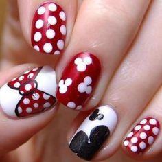 Disney Theme Nail Art Mickey Mouse Nails Minnie Bow Shirts