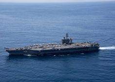 Última imagen facilitada por la US Navy del portaaviones Carl Vinson, fechada el 15 de abril en el océano Índico / US NAVY