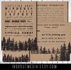 Rustic Wedding Invitations - Vintage, Kraft, forest, woodland wedding, kraft paper, Invitation, RSVP cards, insert, thank you cards, trees