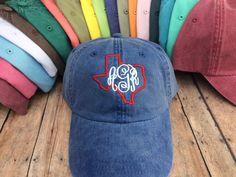 Texas Monogrammed Baseball Hat, Womens hat, monogrammed hat, monogram hat…