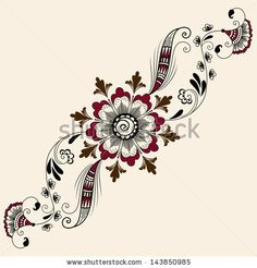 Vector abstract floral elements in indian mehndi style. Abstract floral vector illustration. Design element. by GarryKillian, via ShutterStock