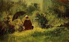 Carl Spitzweg  Der Maler im Garten  1870  22 x 34,5cm  Museum Oskar Reinhart am Stadtgarten