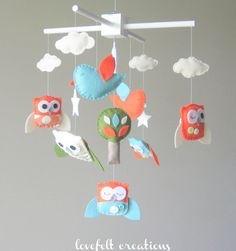Baby mobile owl mobile baby mobile owls by lovefeltmobiles