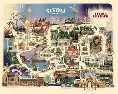 Copenhagen Tivoli - Christmas park map by Mads Berg in Colorful Map Illustration Designs Copenhagen Travel, Copenhagen Denmark, Disney Magic, Tivoli Gardens Copenhagen, Tivoli Park, Tivoli Hotel, Theme Park Map, Denmark Travel, Denmark Map