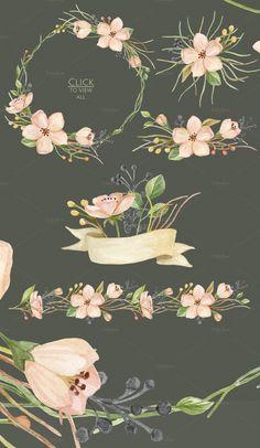 Watercolor blooming. Spring set - Illustrations - 3