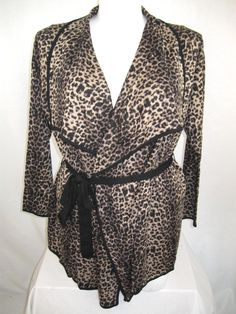 Attitudes by Renee Long-Sleeve Animal Print Cardigan with Tie-Belt (Natural)