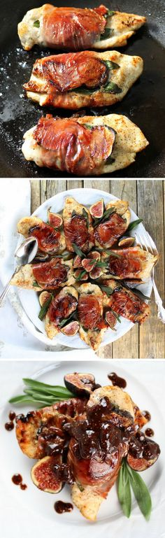 Chicken Fig Saltimbocca w/ prosciutto, sage, fresh figs & a sweet balsamic fig sauce. http://tasteandsee.com